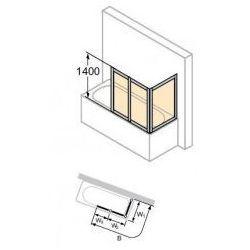 Parawan nawannowy Huppe Combinett - 3-częściowy 75x157 cm, profil srebrny mat, szkło przeźroczyste AC0702.087.321