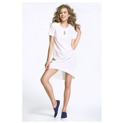 Sukienka z łezką na dekolcie i dłuższym tyłem - ecru - AL29
