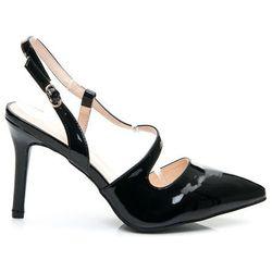 Czarne lakierowane sandałki na szpilce - czarny
