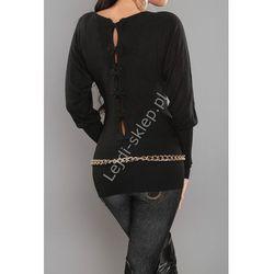 Czarny sweter nietoperz z kokardkami na plecach| czarne swetry damskie