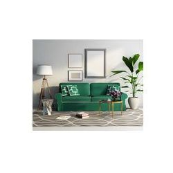 Foto naklejka samoprzylepna 100 x 100 cm - Współczesny elegancki zielony tapczan, świeże salon