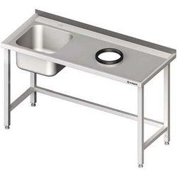 Stół ze zlewem jednokomorowym z otworem na odpadki STALGAST 1200x700x850 lewy