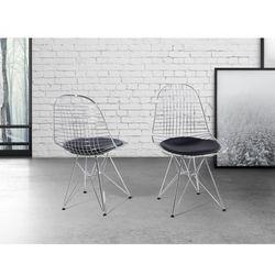 Krzeslo srebrnoczarne - do jadalni - do kuchni - chromowane - MULBERRY
