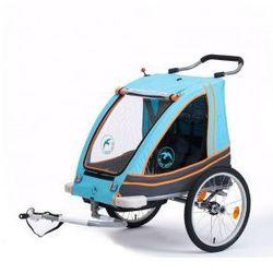 Przyczepka rowerowa BLUE BIRD aluminiowa lekka, dla dzieci 2w1+ wózek, składana, pełna amortyzacja