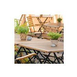 Foto naklejka samoprzylepna 100 x 100 cm - Ogródek piwny w sezonie, letni nastrój, meble drewniane