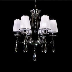 LAMPA wisząca MILESIA LDP 8926 - 6 Lumina Deco kryształowa OPRAWA ŻYRANDOL crystal chrom biały