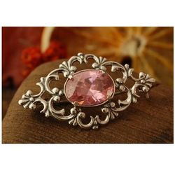 CAMPO - srebrna broszka z różowym kryształem