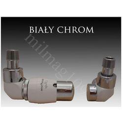 Zestaw zaworów grzejnikowych termostatycznych LUX lewy BIAŁY -CHROM