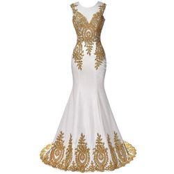 Suknia ślubna ze złotą gipiurą| suknie ślubne, sukienka ślubna