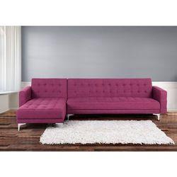 Sofa fioletowa - kanapa - tapicerowana - rozkladana - naroznik - ABERDEEN