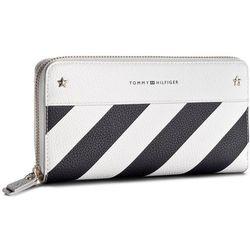 e19ea22f27dbb Duży Portfel Damski TOMMY HILFIGER - Cool Hardware Za Wallet Stripe  AW0AW05301 901