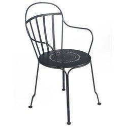 Klasyczne metalowe krzesło z podłokietnikami w stylu francuskim Fermob Louvre czarne