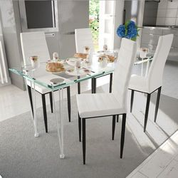 vidaXL 4 wysokie białe krzesła do jadalni + stół ze szklanym blatem Darmowa wysyłka i zwroty