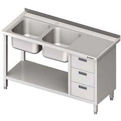 Stół ze zlewem dwukomorowym z trzema szufladami i półką STALGAST 1400x700x850 lewy