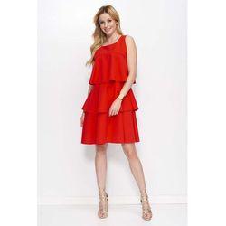 602b872a3d suknie sukienki sukienka falbankami (od Niebieska Koszulowa Sukienka ...