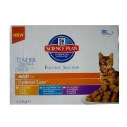 Hill's Feline Adult Chicken & Ocean Fish & Beef Optimal Care MULTIPAK saszetka 12x85g