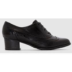 Skórzane buty derby na obcasie