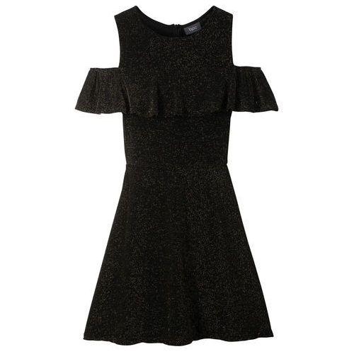 92716d9912 Sukienka dziewczęca na party z falbaną bonprix czarno-złoty ...