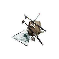 Foto naklejka samoprzylepna 100 x 100 cm - Akcesoria do wędkowania - wędki i podbieraka.