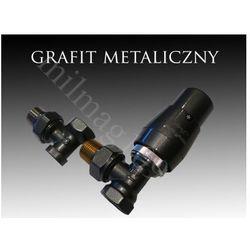 Zestaw zaworów grzejnikowych termostatycznych ELEGANT kątowy GRAFIT