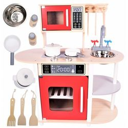 Duza Drewniana Kuchnia Dla Dzieci Akcesoria