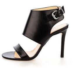 Czarne skórzane sandały na szpilce