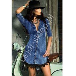Jeansowa sukienka z gipiurą | jeansowe sukienki