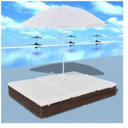 Luksusowe łóżko rattanowe, kolor brąz, leżak dwuosobowy z parasolem Zapisz się do naszego Newslettera i odbierz voucher 20 PLN na zakupy w VidaXL!