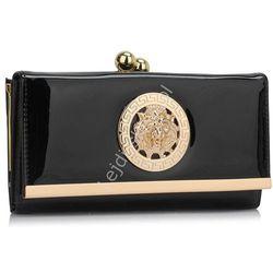 Czarny portfel damski greckie wzory ala versace|lakierowane portfele damskie