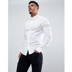 f84203757 ASOS DESIGN skinny shirt with grandad collar and popper in white - White