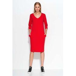 138eccd130 suknie sukienki czerwona dzianinowa sukienka z kieszeniami z rekawem ...