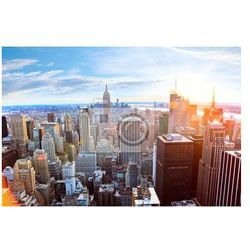 Obraz Widok z lotu ptaka Manhattan Skyline o zachodzie słońca w Nowym Jorku