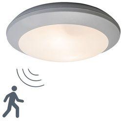 Lampa sufitowa Umberta okrągła szara z czujnikiem ruchu