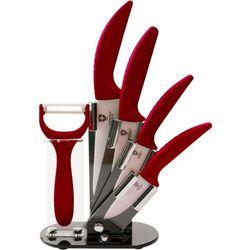 4 Elem. Zestaw Noży Ceramicznych ze Stojakiem + Obieraczka - RL-C4ST BURGUNDY