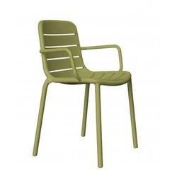 Krzesło z podłokietnikami do restauracji, kawiarni food courtu Resol Gina oliwkowe