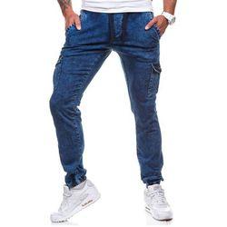 Granatowe spodnie joggery bojówki męskie Denley 813 - GRANATOWY