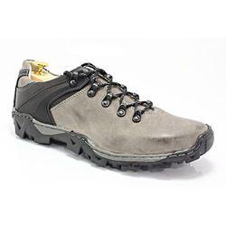 KENT 116 SZARE - Trekkingowe buty męskie 100% skórzane - Złoty   Szary