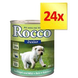 Zestaw Rocco Junior, 24 x 400 g - Kurczak i dziczyzna z ryżem i wapniem