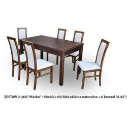 Zestaw Ares 3 Stół 80x140 do 180 + 6 krzeseł A42