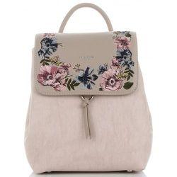 7ca0f95f70e33 Modne Plecaki Damskie z haftowanymi kwiatami marki David Jones Beżowe  (kolory)