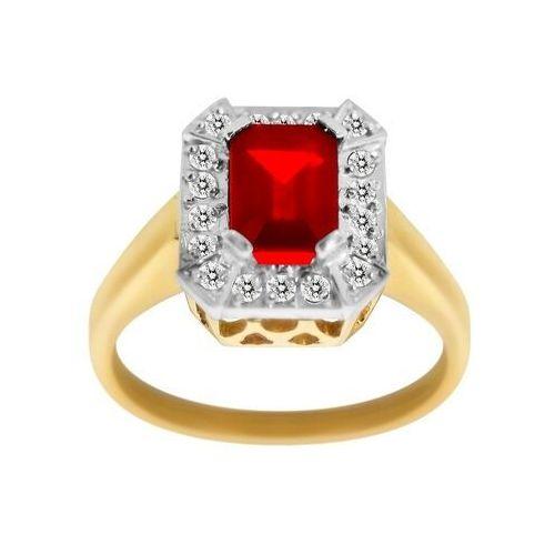 Pierścionek Zaręczynowy Z Rubinem I Brylantami 018ct Pk022b