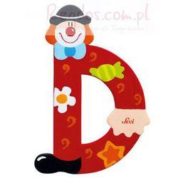 Drewniana literka D, Clown