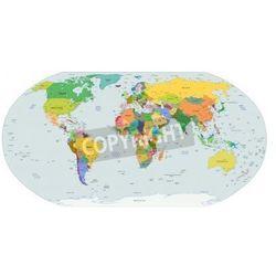 Naklejka Globalna mapa polityczna świata, stolic i większych miast włączone