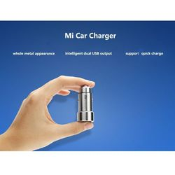 100% Original Xiaomi MI Car Charger Metal Appearance Dual USB Output Quick Charger Adapter For iPhone 5 5S 6 6S For Samsung Etc