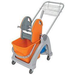 Wózek pojedynczy z tworzywa sztucznego z aluminiową rączką, prasą, dodatkowym wiadrem i koszykiem.