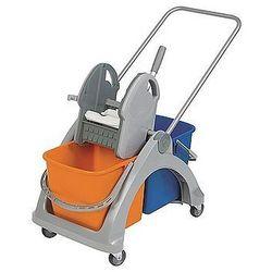 Wózek podwójny z tworzywa sztucznego z aluminiową rączką i prasą.