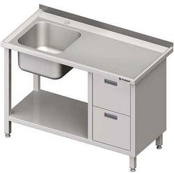 Stół ze zlewem jednokomorowym z dwiema szufladami i półką STALGAST 1900x700x850 lewy