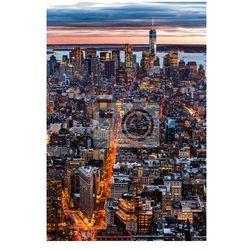 Plakat Nowy Jork z lotu ptaka miasta o zachodzie słońca