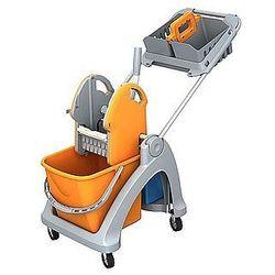 Wózek pojedynczy z tworzywa sztucznego - linia TSK, z aluminiową rączką, prasą, oraz korpusem koszyka i koszykiem hotelowym.