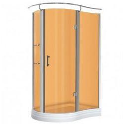 KERRA NERO Kabina prysznicowa jednoskrzydłowa 120x90 PRAWA + brodzik, profile chrom, szkło brązowe